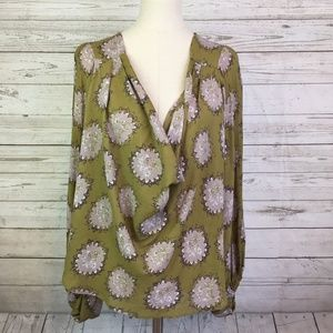 Free People blouse green floral M oversized cowl